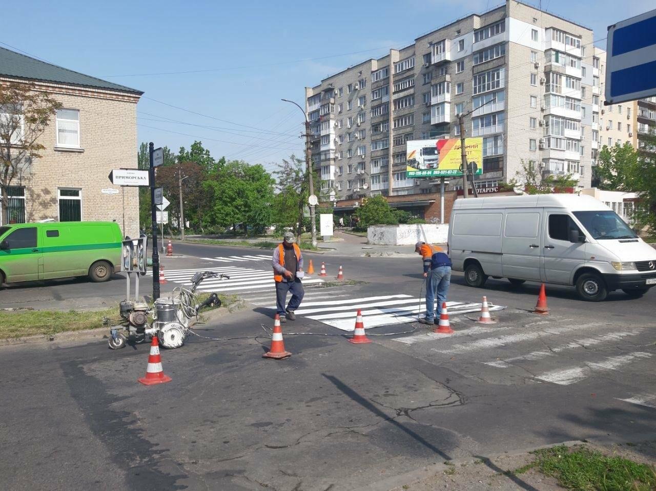 """В Бердянске обновляют пешеходную """"зебру"""", фото-2"""