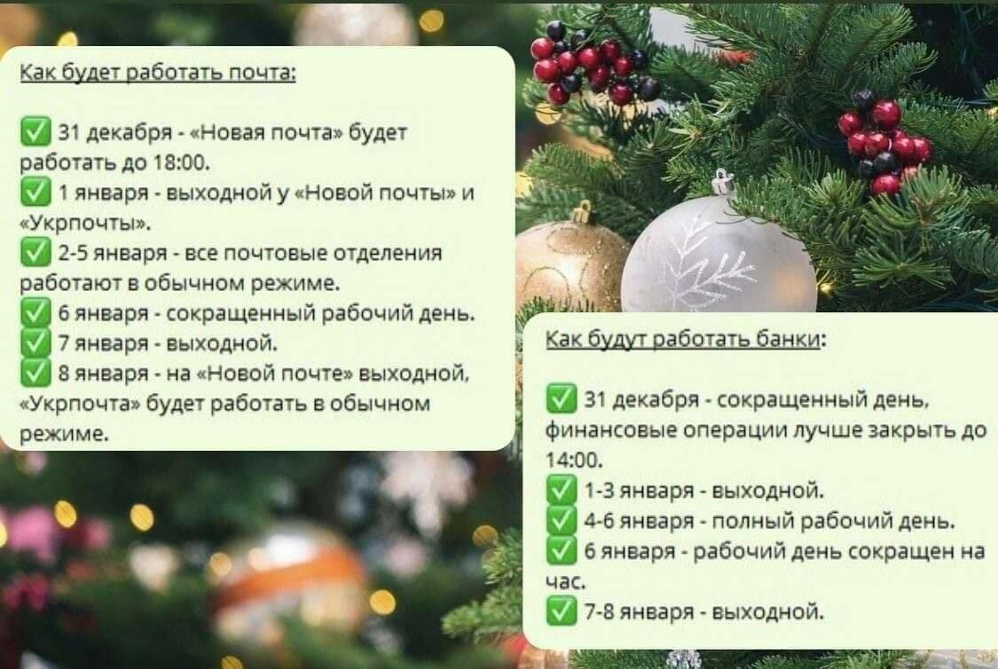График работы почты и банков в новогодние праздники, фото-1