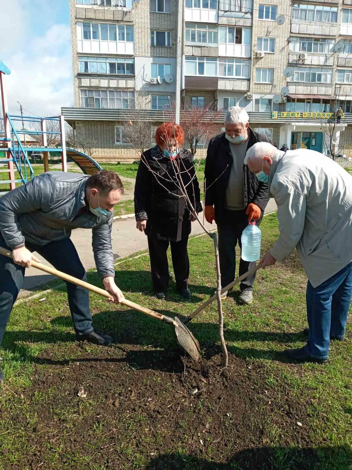 Кто больше: в Бердянске мэр и секретарь горсовета наперегонки сажают деревья, фото-5