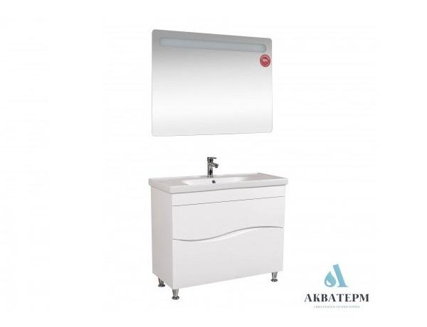 Комплект мебели Aqua Rodos для ванной комнаты: зеркало Гама, тумба Альфа с умывальником