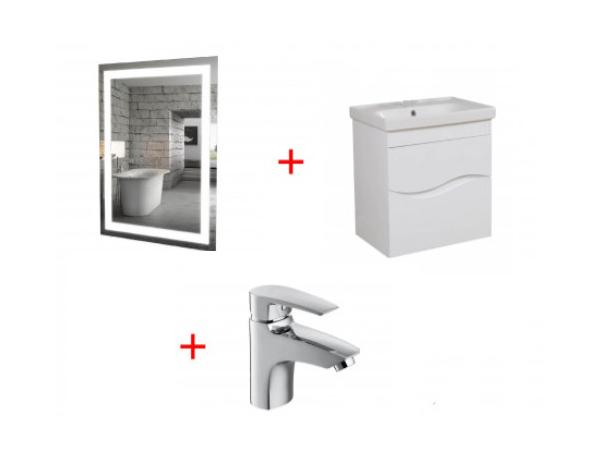 Комплект мебели Aqua Rodos для ванной комнаты: зеркало Альфа, тумба Альфа с умывальником + смеситель Lal в подарок