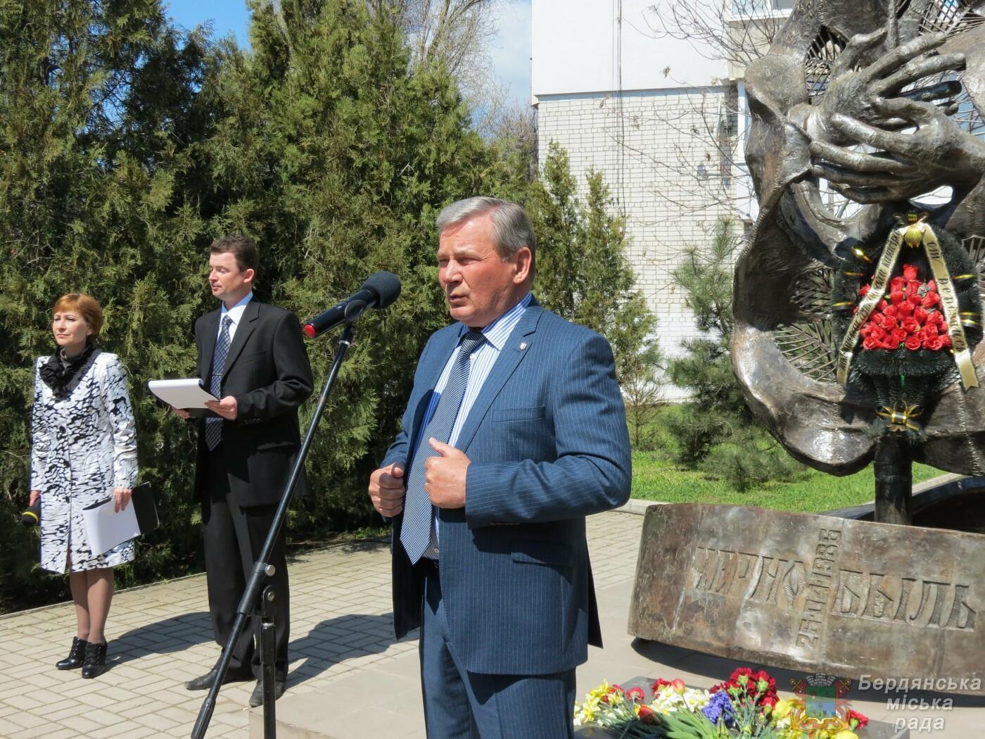 В Бердянске прошел митинг к 35-й годовщины аварии на Чернобыльской атомной электростанции, фото-9
